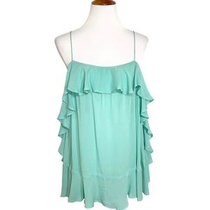 NWT Free People Ruffled Mint Babydoll Blouse